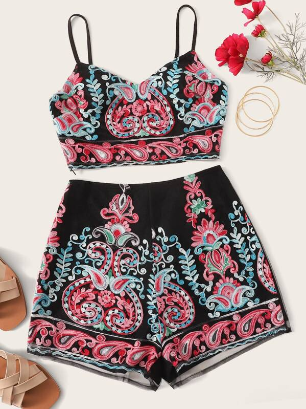 57842fe0be Embroidered Crop Cami Top and Shorts Set | SHEIN UK