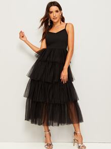 Layered Ruffle Mesh Cami Dress