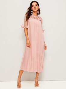 Guipure Lace Yoke Mesh Sleeve Pleated Belted Dress