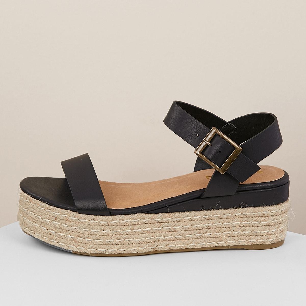 Джутовые сандалии на платформе