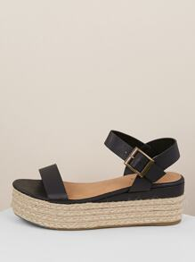Jute Wrapped Flatform Single Band Sandals
