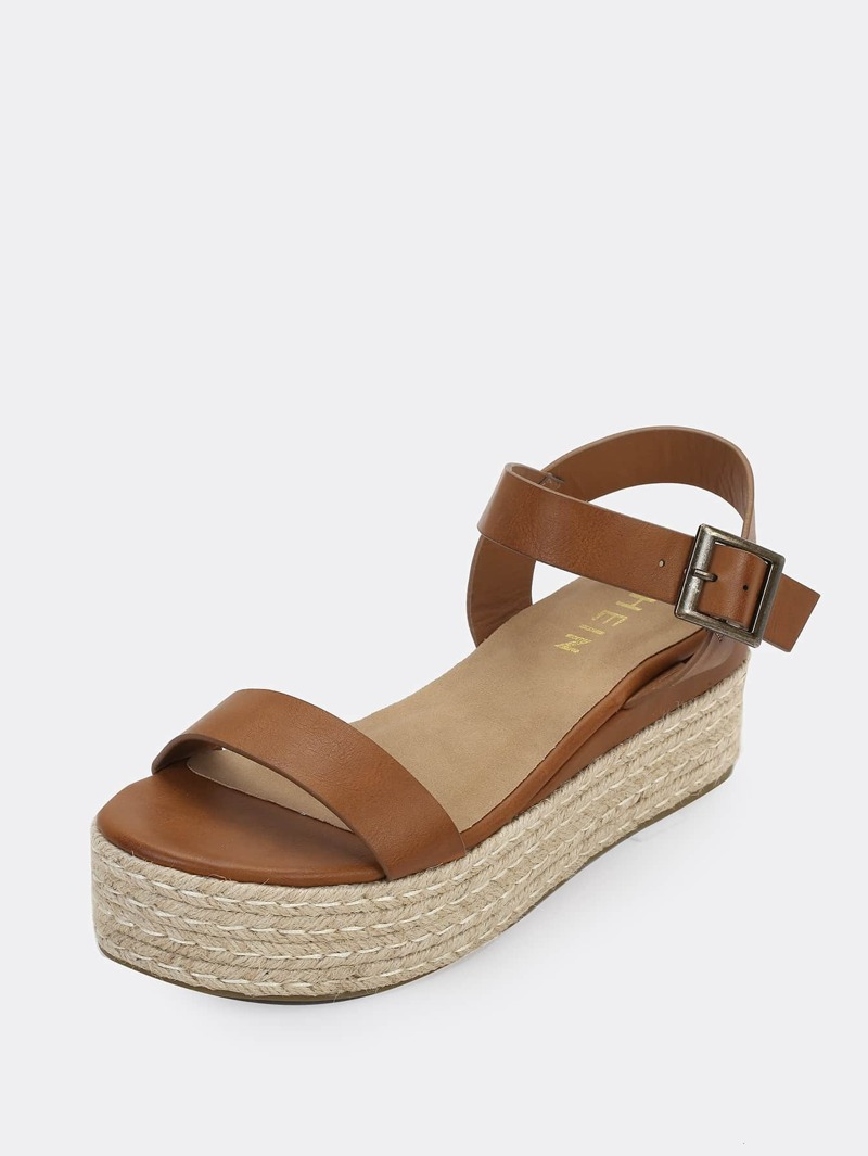 6e9cb08fff4 One Band Jute Trimmed Buckle Flatform Sandals