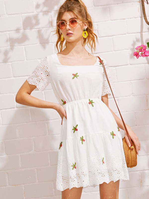 a5b2389197b Eyelet Embroidery Square Neck Dress