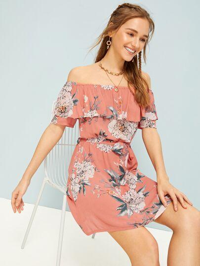 a02fec492e7 Floral Print Off The Shoulder Belted Dress