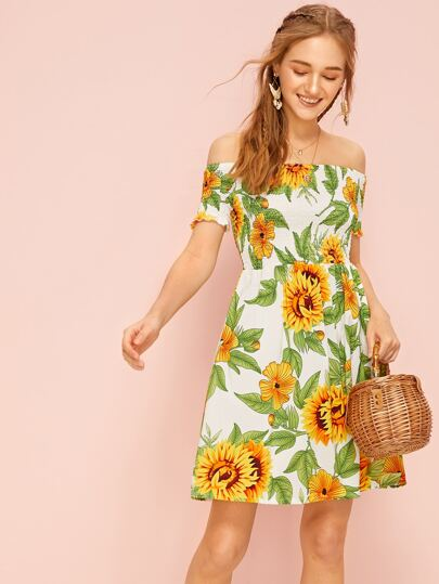 ecfb2069c054 Home · Clothing · Dresses; Sunflower Print Shirred Bardot Dress