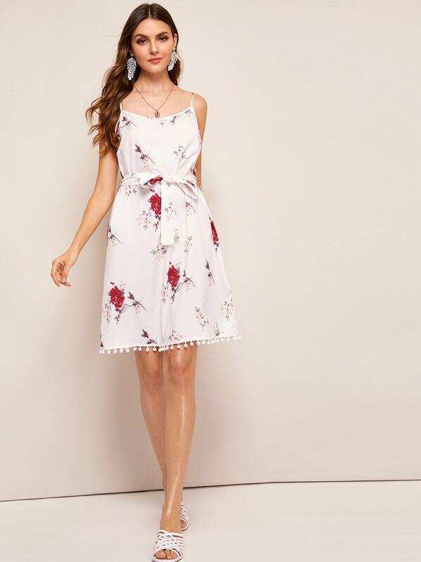 d6a9bd85e8 Floral Print Self Tie Cami Dress | SHEIN
