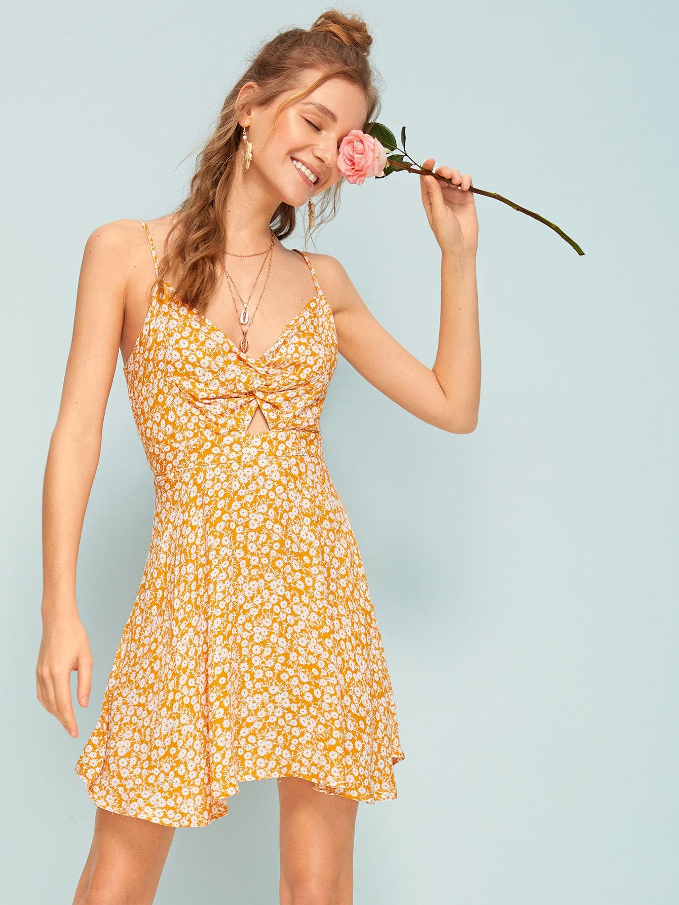 Ditsy Floral Twist Front Peekaboo Knot Back Sundress by Romwe