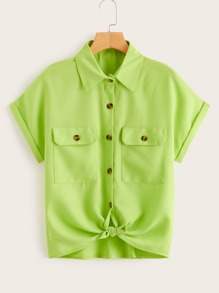 Neon Lime Button Front Dual Pocket Blouse