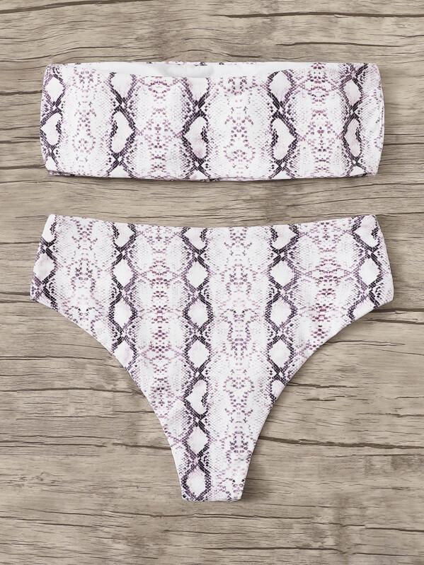 a775f620f1 Plus Snakeskin Bandeau Top With High Waist Bikini | SHEIN