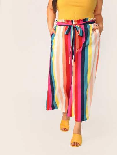 504ad4f28fd Plus Paperbag Waist Rainbow Stripe Belted Pants