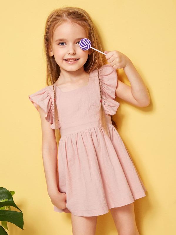 adb4f7dcb1 Toddler Girls Ruffle Trim Solid Dress   SHEIN