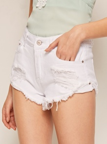Raw Hem Ripped Solid Denim Shorts