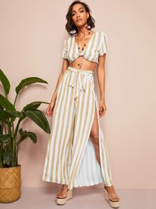 Twist Front Striped Crop Top & Split Belted Pants Set