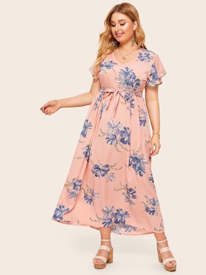 Bright Summer Dress Korean Style Slim Thin Elegant A Line V Neck Floral Print Long Sleeve Dress Plus Size Women's Clothing