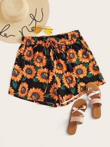 Plus Sunflower Print Shorts