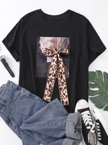 Plus Figure Print Bow Front Tee