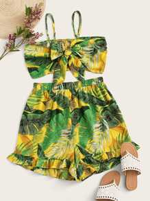 Plus Tie Front Tropical Print Cami Top & Shorts