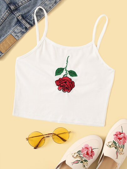 Rose Embroidered Cami Top