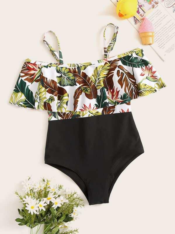 ce44d8918ce73 Girls Random Tropical Flounce One Piece Swimsuit | SHEIN UK