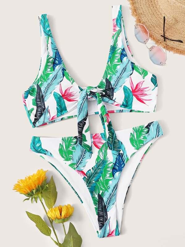 292e869f66 Random Leaf Print Knot Front Bikini Set | SHEIN