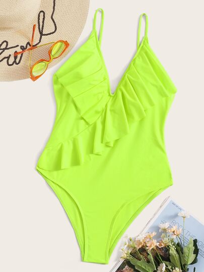 7c30e67306 Neon Lime Ruffle Plunge One Piece Swimwear