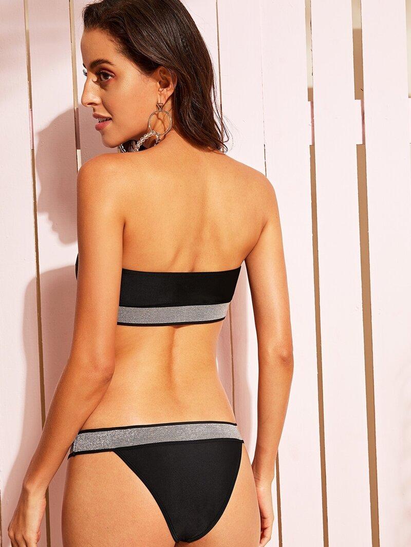248c148ebc7d Bikini bandeau con ribete brillante con tanga