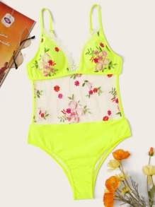 Neon Yellow Mesh Floral Embroidered Lace Trim Monokini