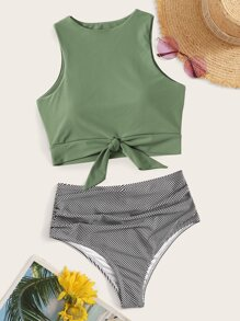 Knot Hem Top With Ruched Panty Bikini Set