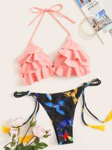 Tiered Layer Top With Side Tassel Tie Bikini Set