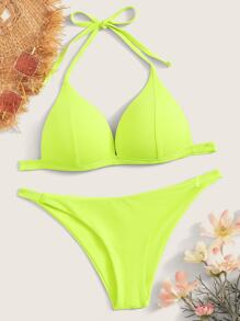Neon Lime Seam Halter Top With Tanga Bikini Set