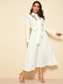 Ruffle Trim Buttoned Embroidery Front Belted Hijab Dress