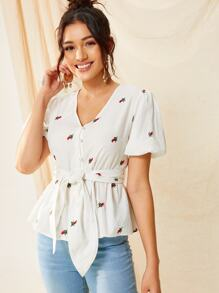 Pearls Beaded Belted Floral Embroidery Top