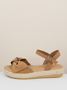 Tie Accent Open Toe Low Jute Platform Sandals