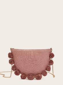 Chain Strap Pom-pom Decor Woven Crossbody Bag