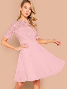 Guipure Lace Bodice Pleated Dress