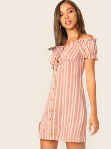 Button Front Frill Trim Striped Bardot Dress
