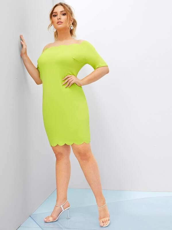 Plus Neon Lime Off Shoulder Scallop Trim Dress