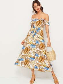 Tropical Print Button Front Bardot Belted Dress