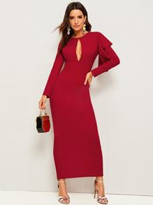 Cut-out Front Ruffle Trim Slit Hem Dress