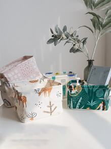 Random Plant Print Desktop Storage Basket 1pc