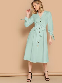 Button Front Knot Cuff Tea Dress