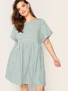 Plus Rolled Cuff Cut-out Back Striped Smock Dress