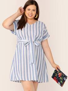 Plus V Neck Striped Belted Tunic Dress