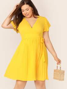 Plus Neon Yellow Tie Side Pleated Wrap Dress