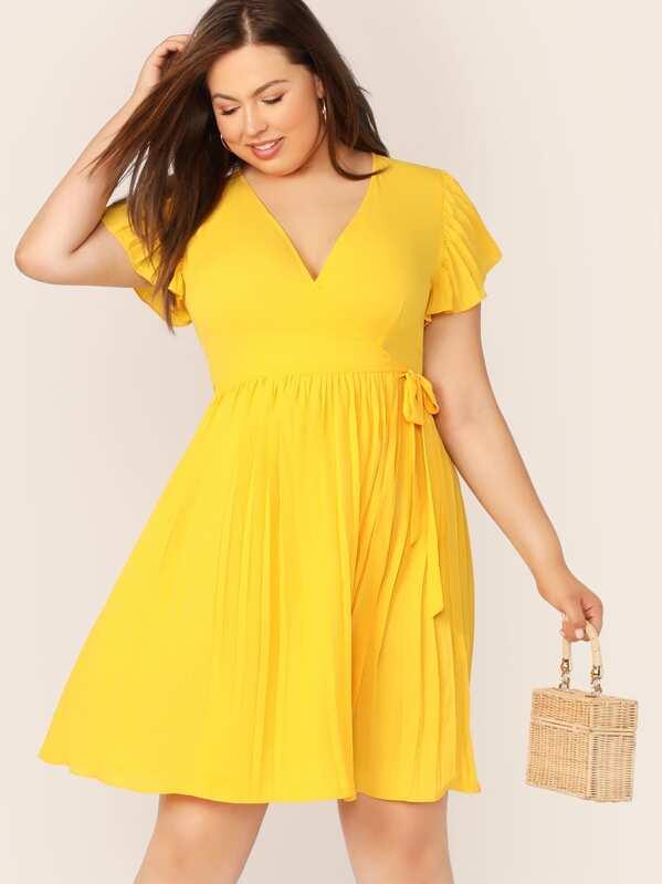 Plus Neon Yellow Tie Side Pleated Wrap Dress
