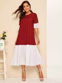 Color-block Eyelet Embroidered Dress