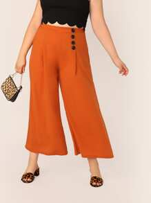 Plus Neon Orange Button Detail Wide Leg Pants