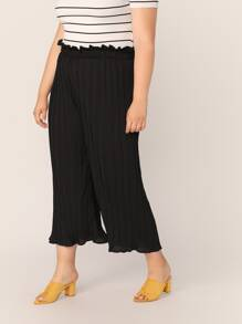 Plus Paperbag Waist Pleated Palazzo Pants