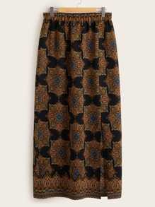 Plus Tribal Print Split Hem Skirt