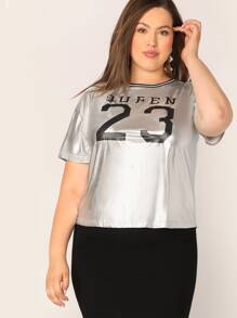 Plus Striped Neck Letter Print Metallic Top